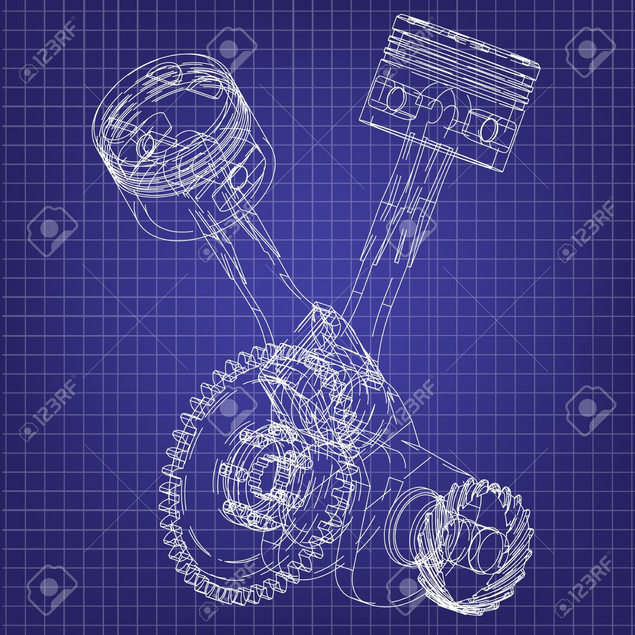 hight resolution of motorcycle engine on a blue background drawing stock vector 118029004