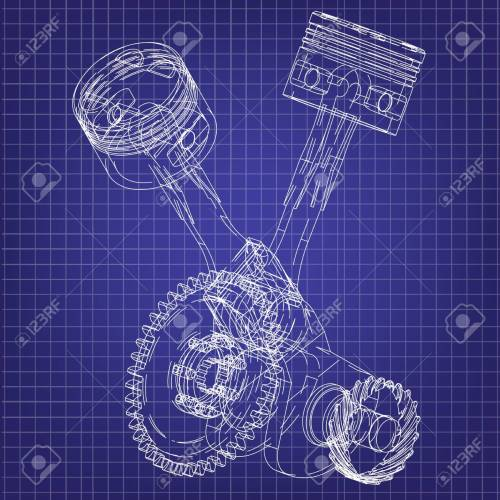 small resolution of motorcycle engine on a blue background drawing stock vector 118029004