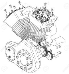 motorcycle engine on a white background drawing stock vector 118029191 [ 1275 x 1300 Pixel ]