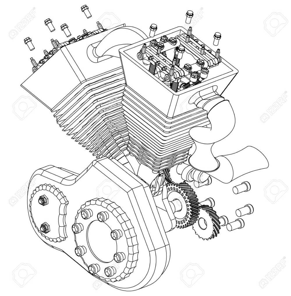 medium resolution of motorcycle engine on a white background drawing stock vector 118029191