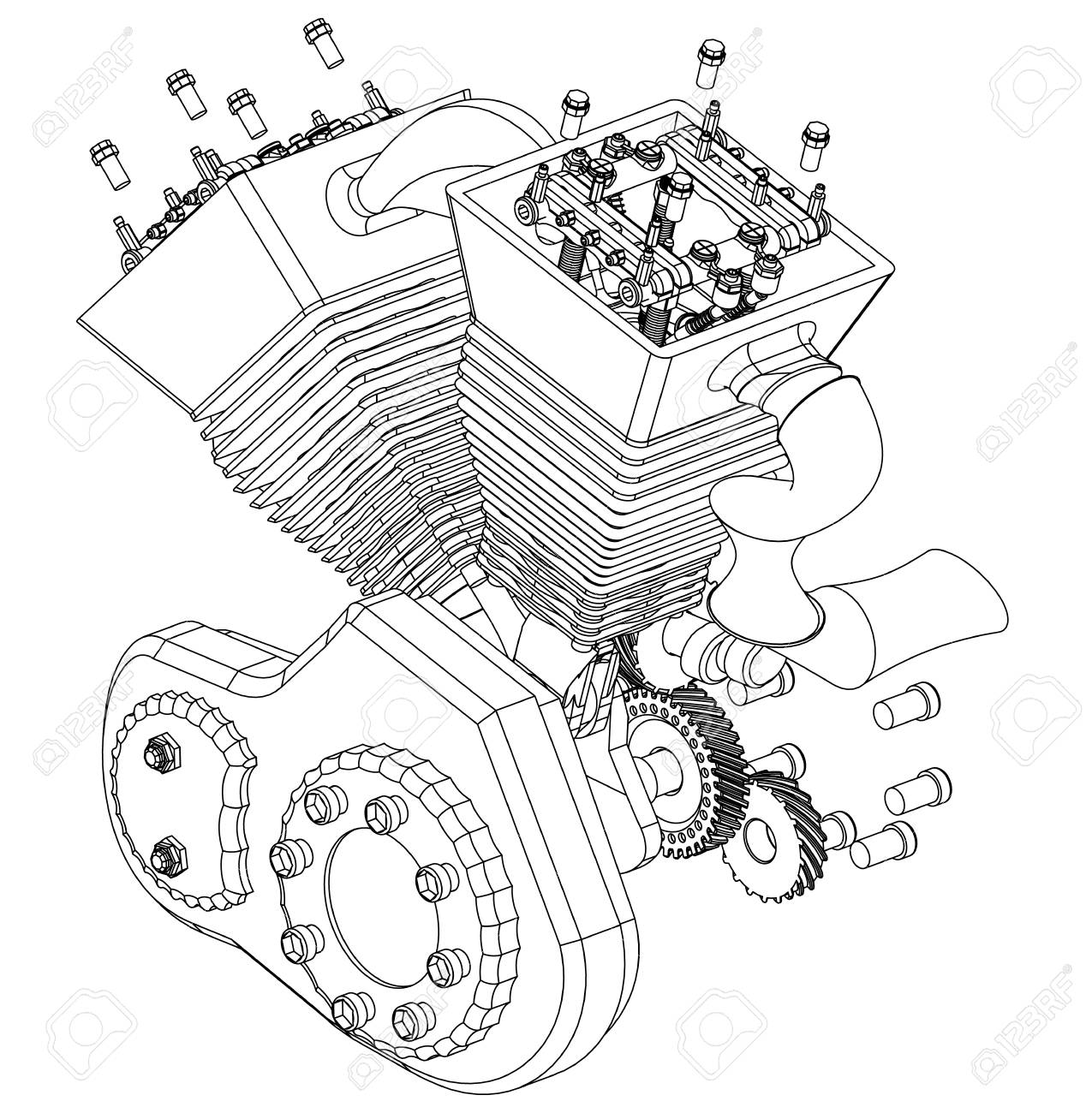hight resolution of motorcycle engine on a white background drawing stock vector 118029191