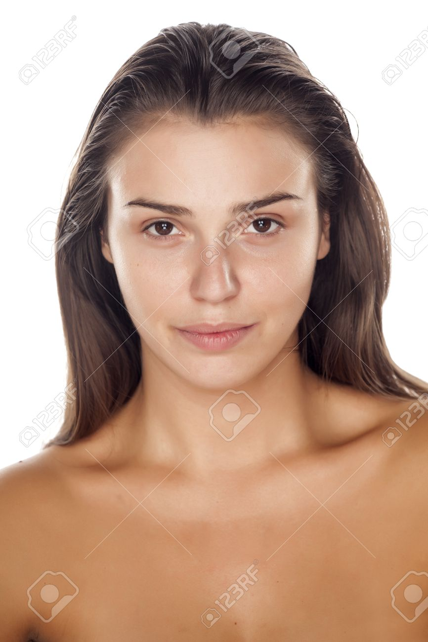 Stock Photo Young Beautiful Woman Without Makeup On A White Background