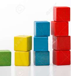 stock photo toy wooden blocks as increasing graph bar infographic diagram chart over white [ 1300 x 873 Pixel ]