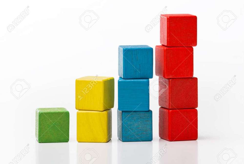 medium resolution of stock photo toy wooden blocks as increasing graph bar infographic diagram chart over white