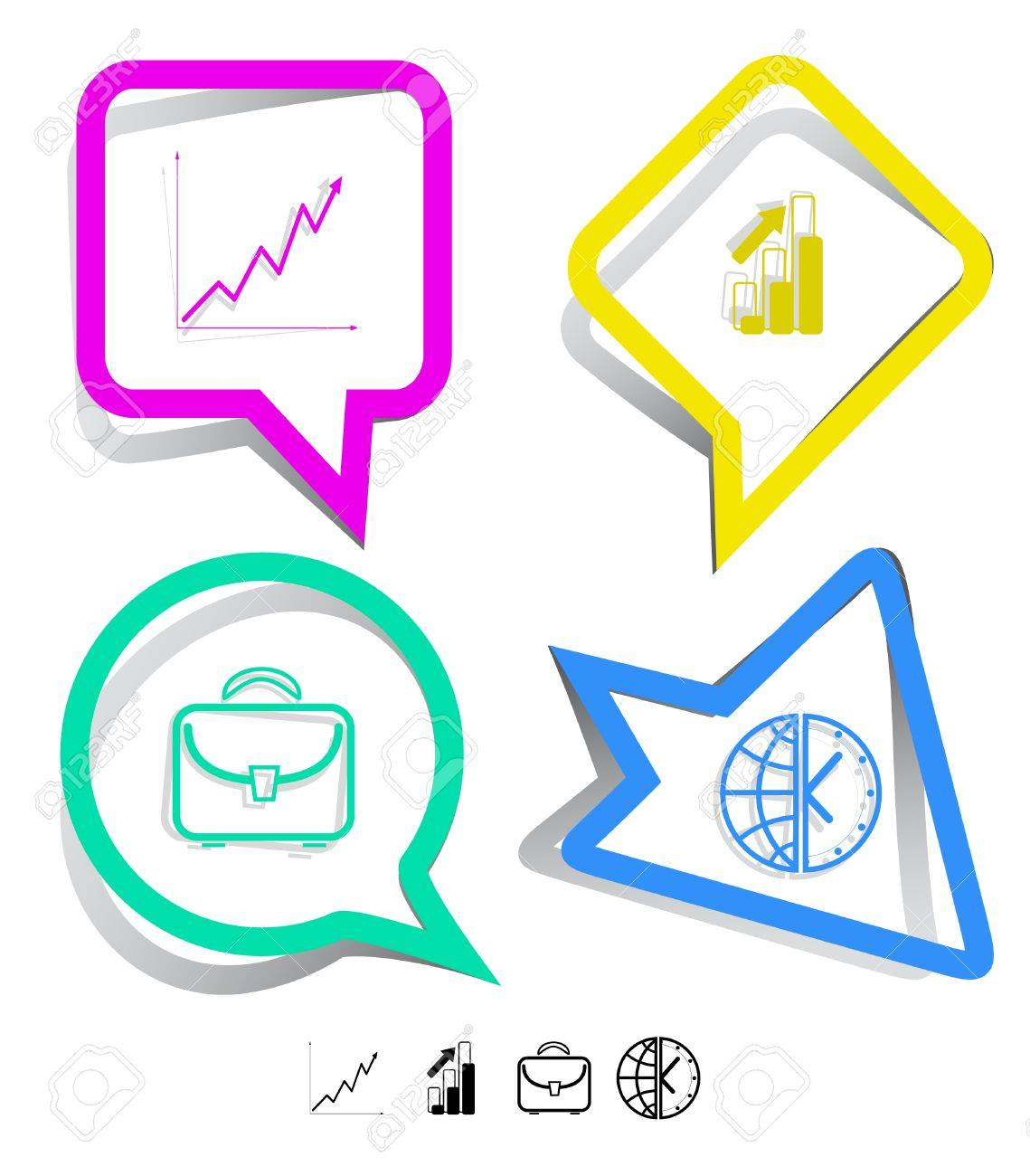 hight resolution of briefcase globe and clock diagram paper stickers vector