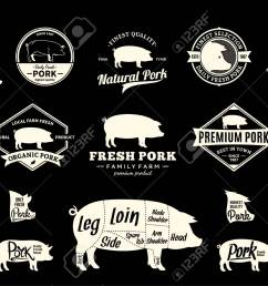 set of pork logo butchery labels with sample text pork design elements pig [ 1300 x 920 Pixel ]