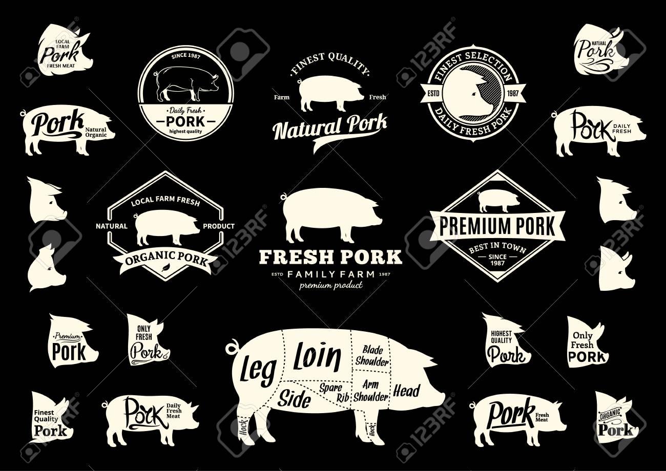 hight resolution of set of pork logo butchery labels with sample text pork design elements pig