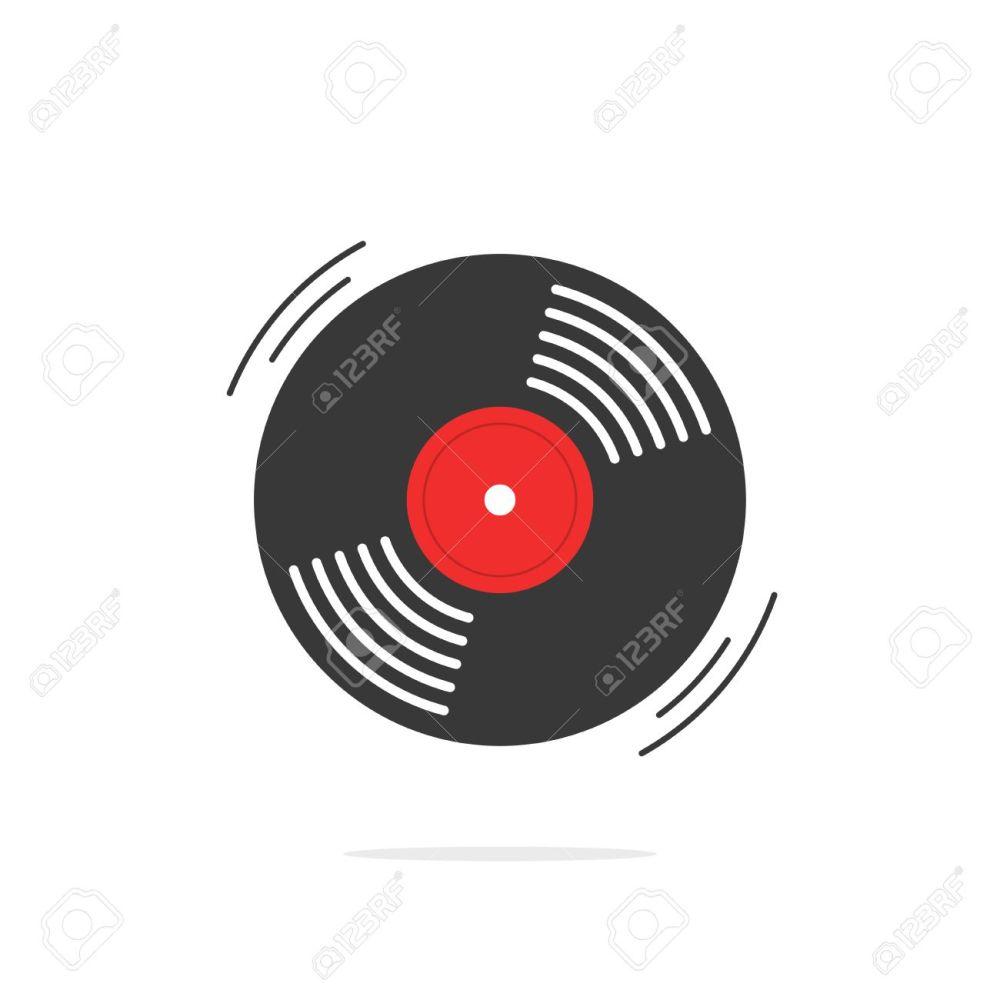 medium resolution of vector vinyl record vector icon gramophone record symbol rotating record vinyl disc flat vinyl lp cartoon vinyl record label cover emblem modern