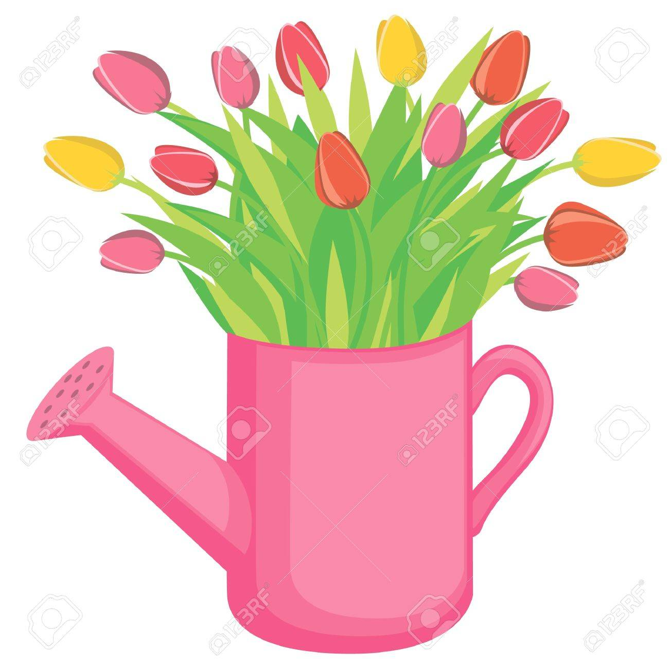 hight resolution of bouquest of tulips flowers in the watering can stock vector 9410825