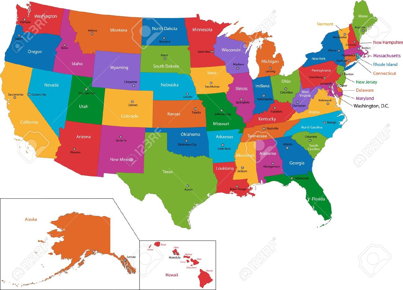 colorful usa map with