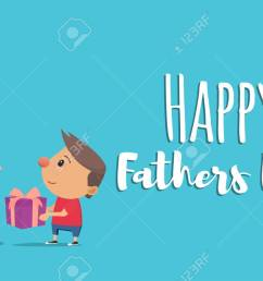 happy fathers day son gives father gift vector illustration in flat style stock vector [ 1300 x 866 Pixel ]