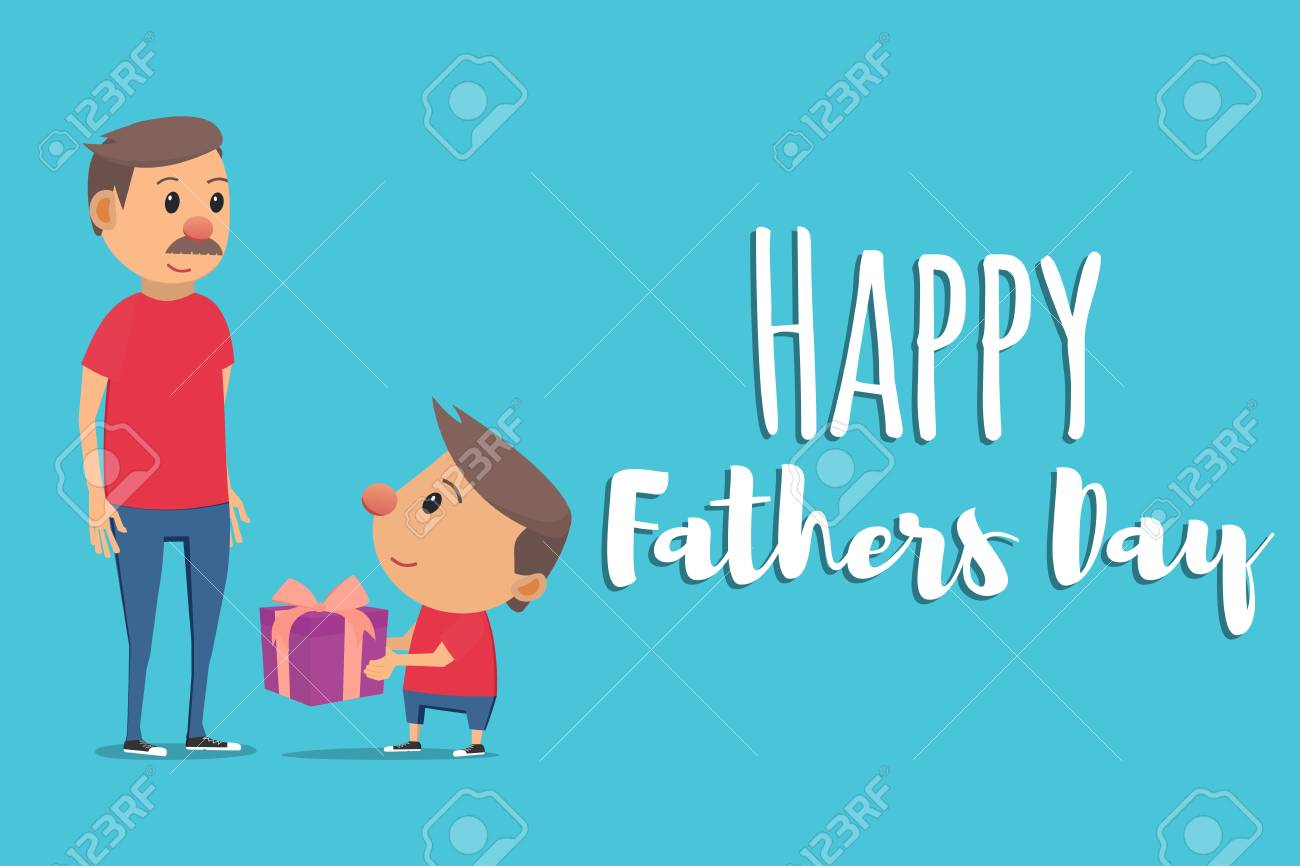 hight resolution of happy fathers day son gives father gift vector illustration in flat style stock vector