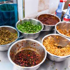 Kitchen China Dishes Costco Travel To With Seasonings Spices And Toppings Stock Photo On Table In Urban Chinese Eatery Longsheng Town
