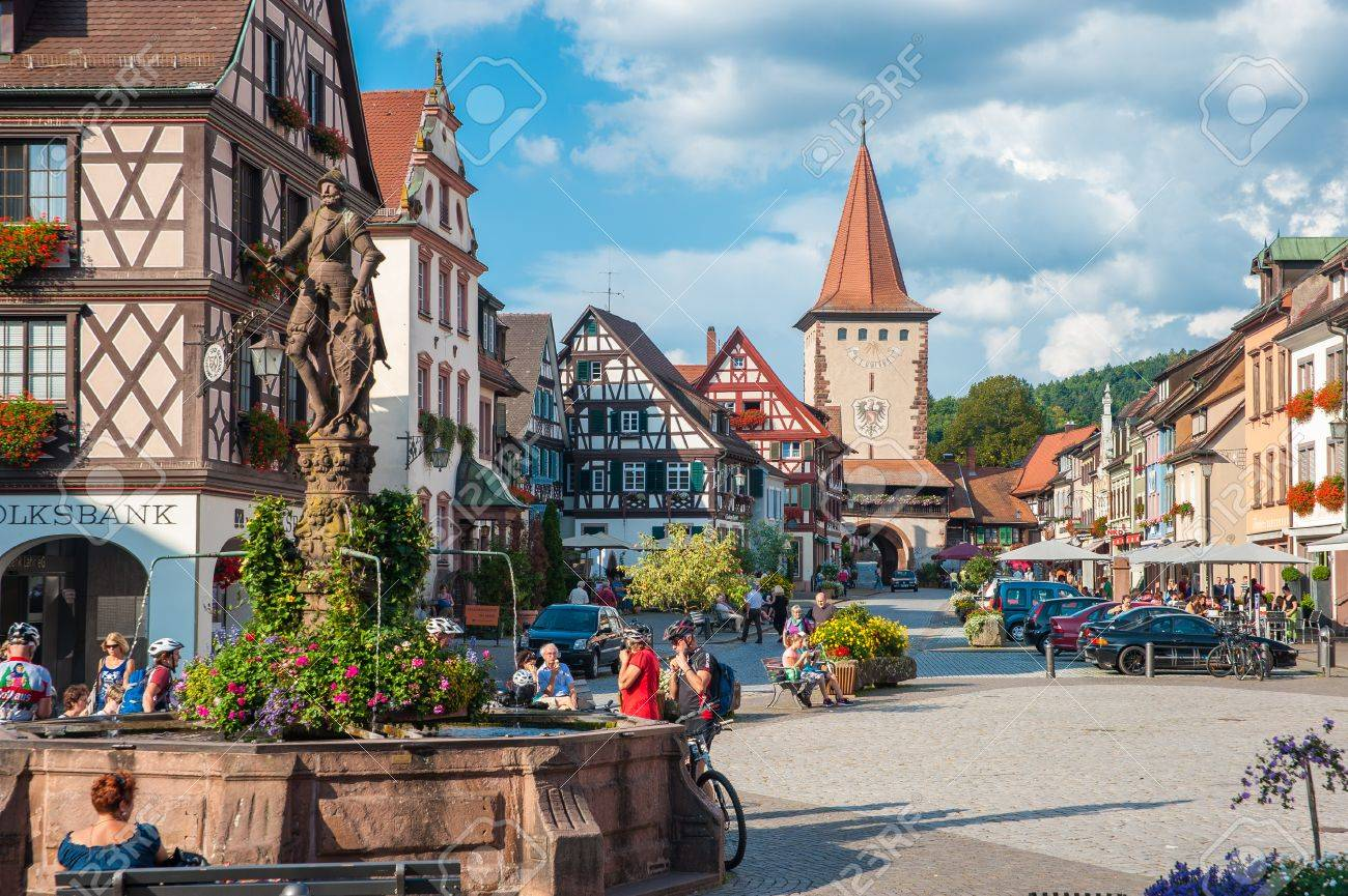 stock photo the historic old town with upper gate tower and rhr fountain in gengenbach black forest baden wurttemberg germany europe