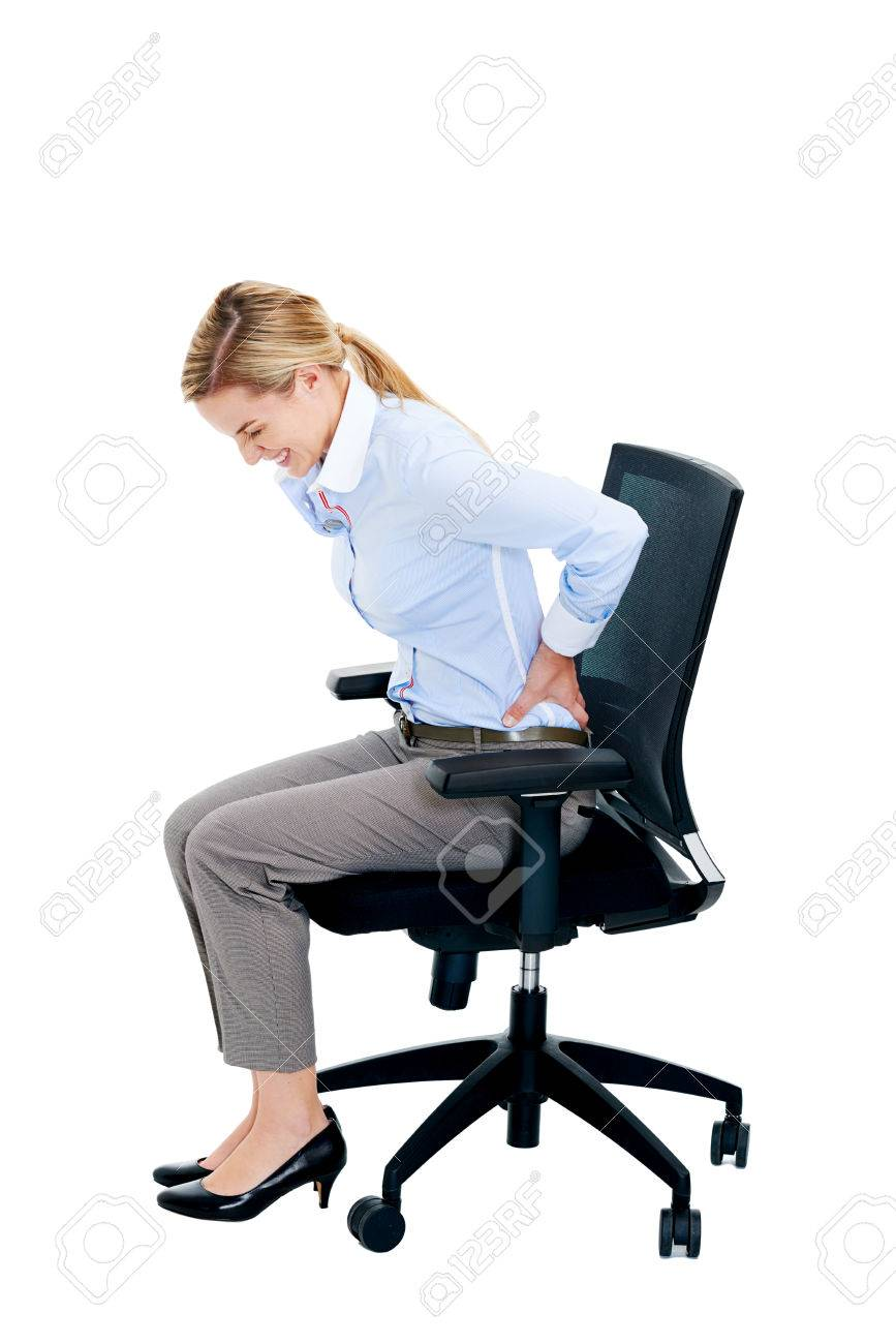 Office Chair Posture Back Tension Pain From Office Chair Posture Isolated On White