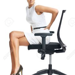 Desk Chair For Lower Back Pain Aeron Herman Miller Manual Businesswoman With From Sitting On Office Stock Photo 35066898