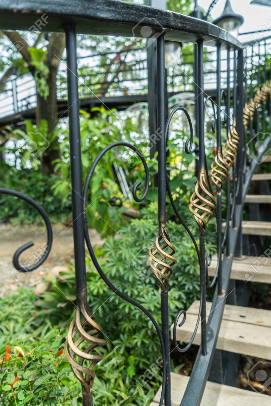 Vintage Wrought Iron Staircase With Wooden Handrails And Steps   Iron Handrails For Steps   Hand   Iron Railing   Iron Picket   Craftsman Style   Double Storey House