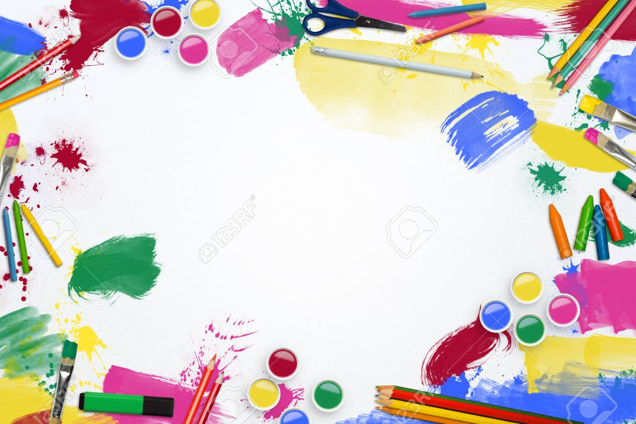 hight resolution of art supplies border line stock photo 50999182