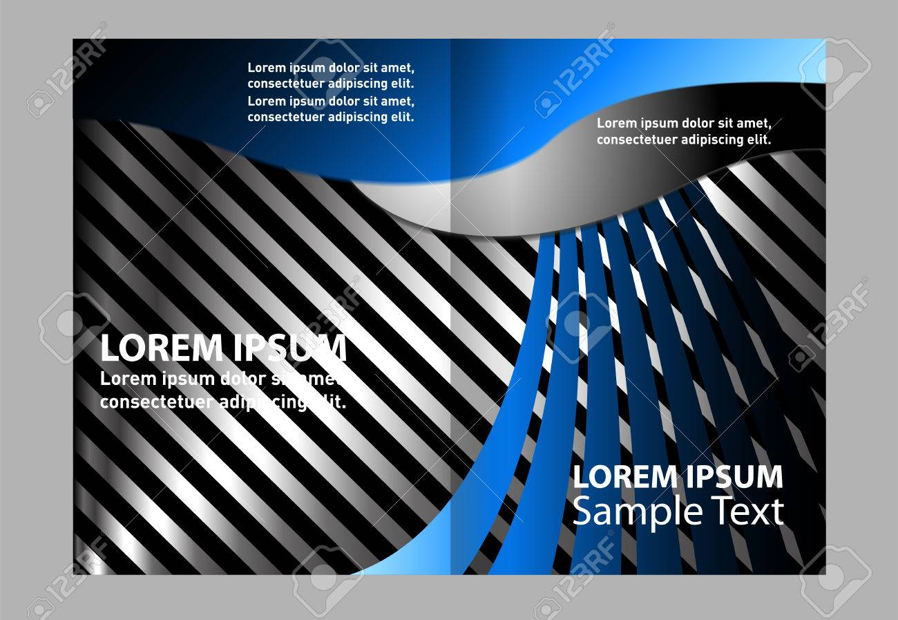 Bi-Fold Brochure Vector Empty Blue Print Design Template Stock Vector -  54083708