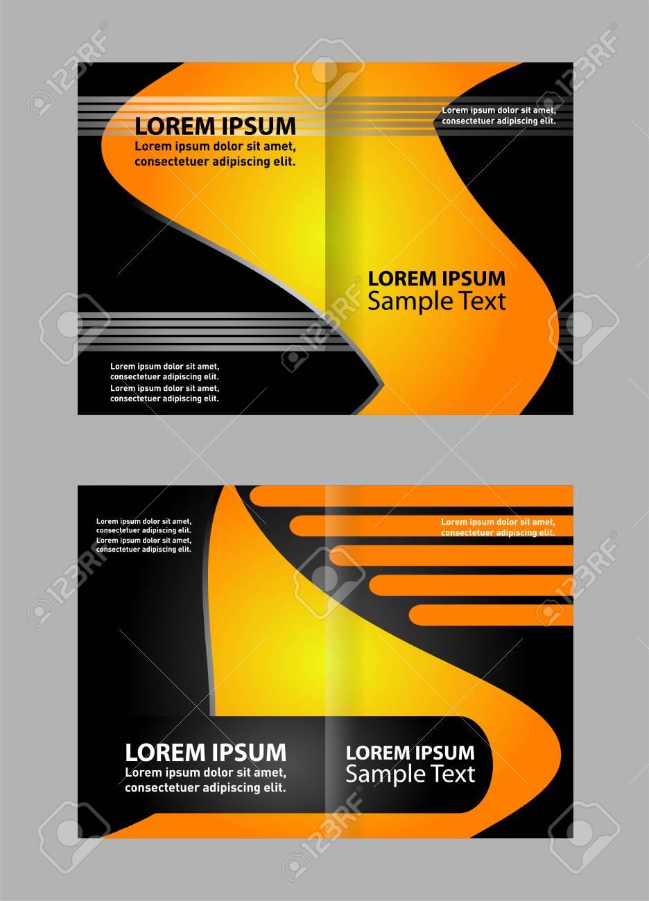 Bi-Fold Brochure Empty Vector Template Print Design, Bright Orange & Yellow  Bifold Booklet