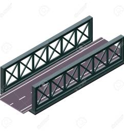 vector clipart and illustrations 3d isolated on white background industrial transportation building metallic architecture asphalt road steel bridge  [ 1300 x 1300 Pixel ]