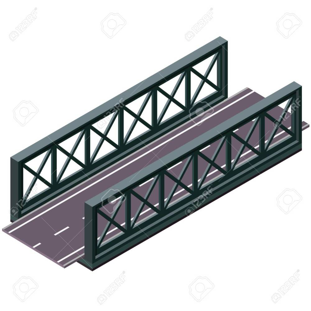 medium resolution of  vector clipart and illustrations 3d isolated on white background industrial transportation building metallic architecture asphalt road steel bridge