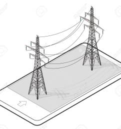 vector vector high voltage pylons in mobile phone isometric perspective wire metal pole voltage isolated background outlined power line pylons  [ 1300 x 1197 Pixel ]
