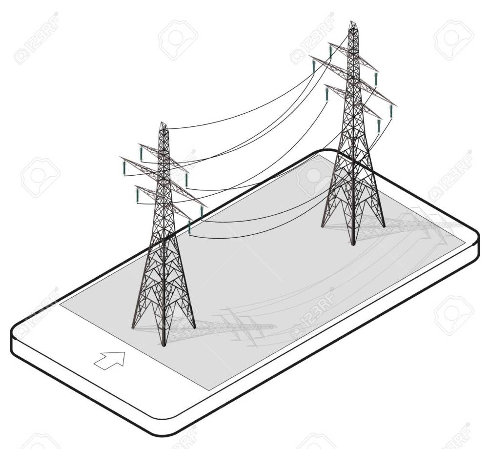 medium resolution of vector vector high voltage pylons in mobile phone isometric perspective wire metal pole voltage isolated background outlined power line pylons