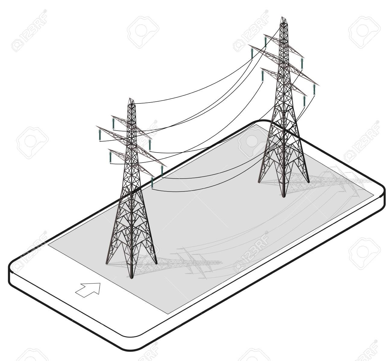 hight resolution of vector vector high voltage pylons in mobile phone isometric perspective wire metal pole voltage isolated background outlined power line pylons