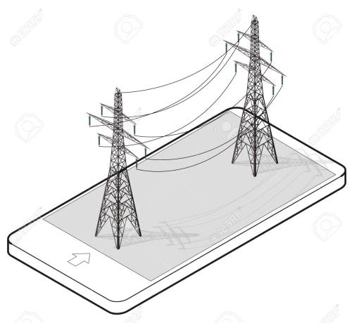 small resolution of vector vector high voltage pylons in mobile phone isometric perspective wire metal pole voltage isolated background outlined power line pylons
