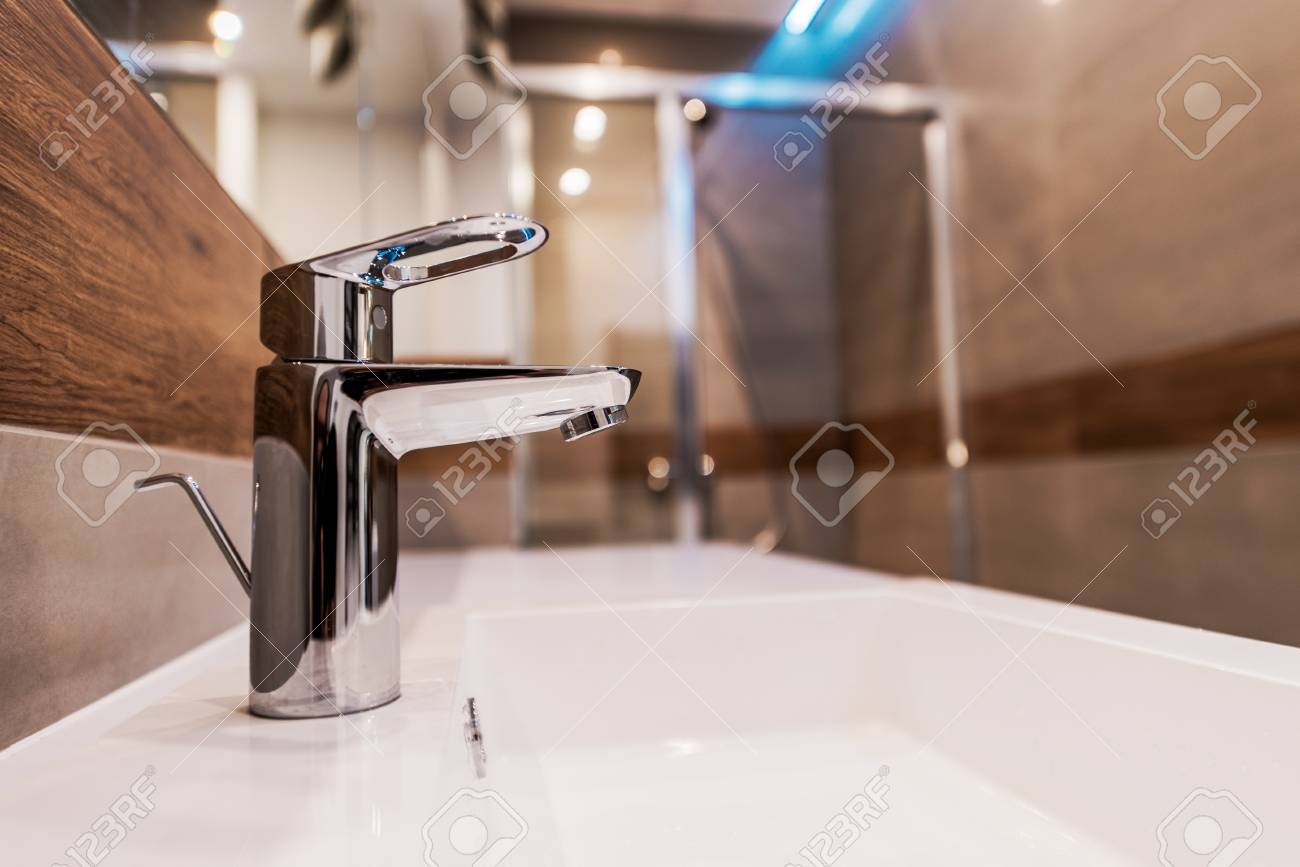 Modern Faucets For Bathroom Sinks Modern Bathroom Sink Faucet Closeup Photo