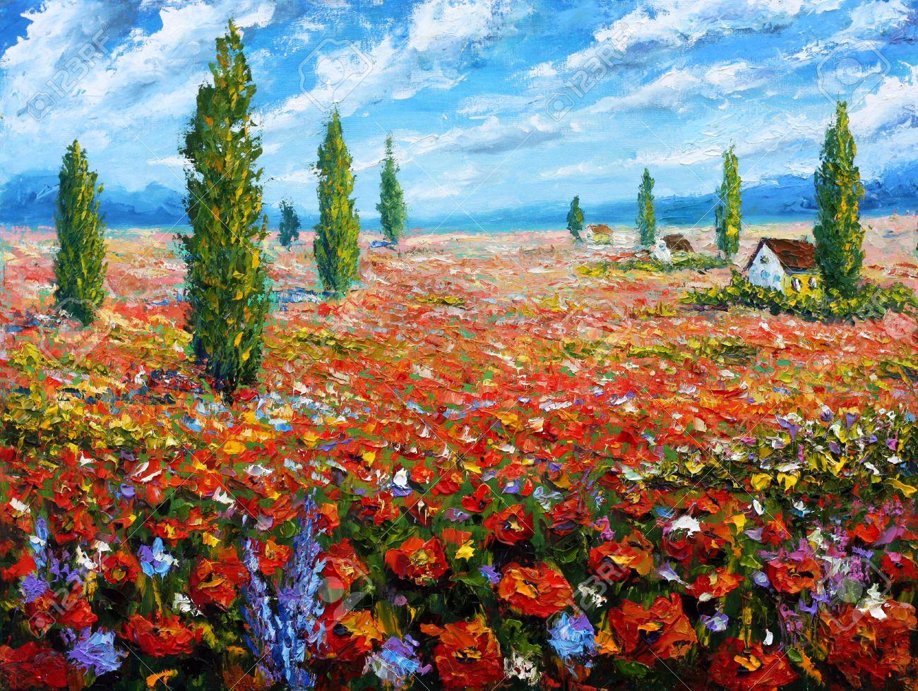peinture fleurs champ de coquelicots rouges peinture a l huile de fleurs de belles fleurs sur le terrain sur canvas field fleurs rouges moderne