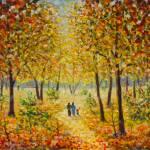 Original Olgemalde Von Familie Zu Fuss Im Herbst Park Auf Leinwand Moderne Impressionismus Kunst Kunstwerk Lizenzfreie Fotos Bilder Und Stock Fotografie Image 70633375