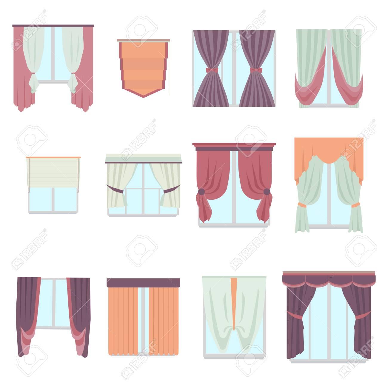 grande collection de divers rideaux de decoration de fenetre de style plat rideau interieur maison isole sur blanc decor de vecteur