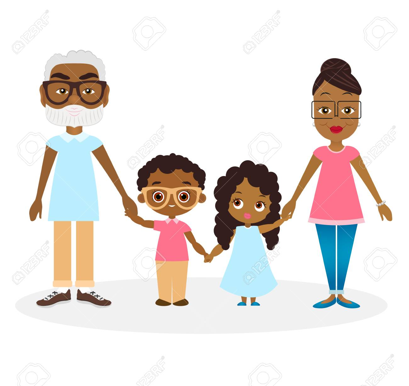 hight resolution of african american grandparents with grandson and granddaughter happy african american family hold hands stock