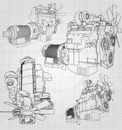 a big diesel engine with the truck depicted in the contour lines on graph paper  [ 1300 x 1300 Pixel ]