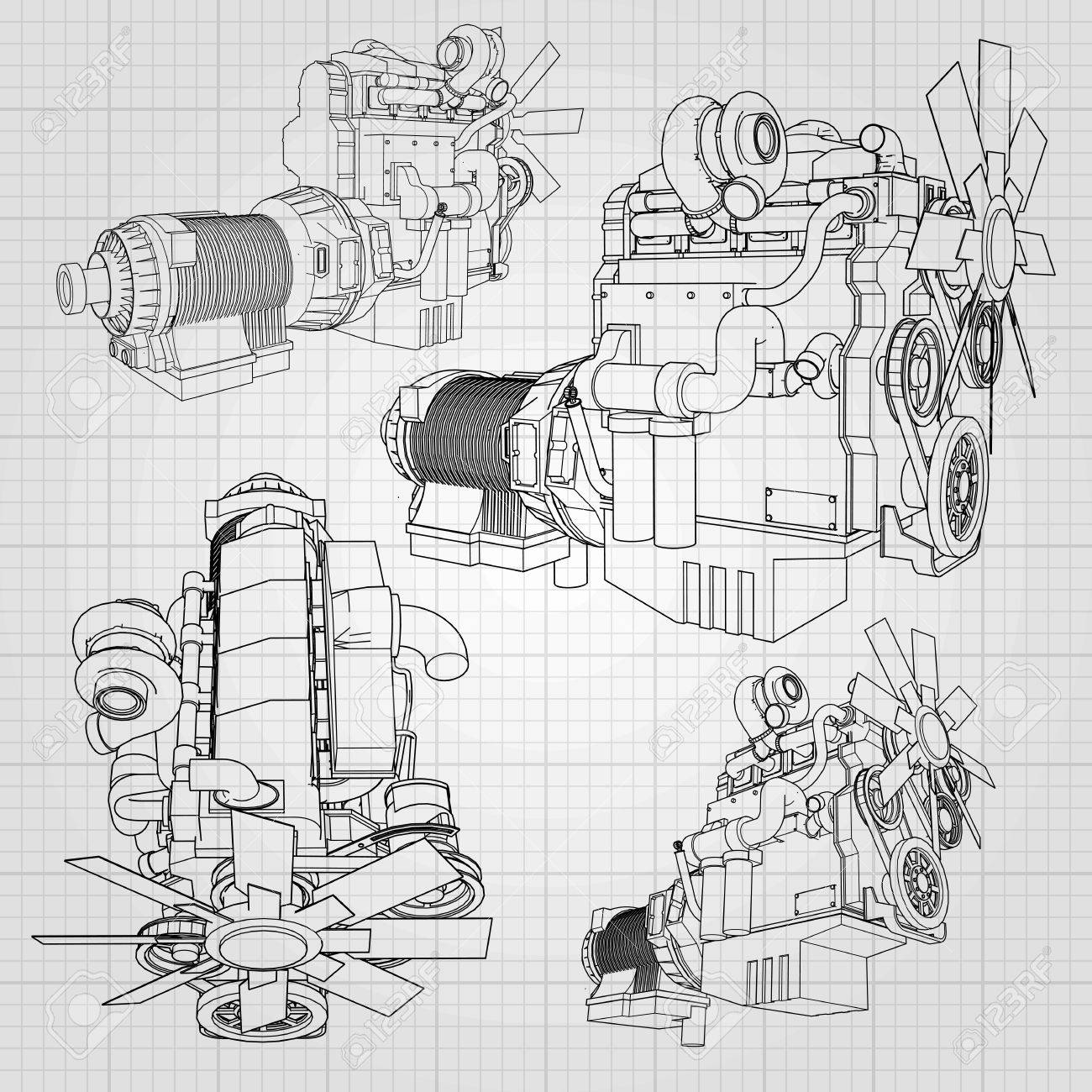 hight resolution of a big diesel engine with the truck depicted in the contour lines on graph paper
