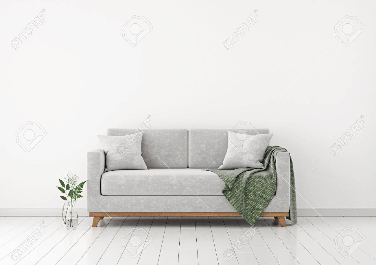 wall sofa leather chaise sectional interior with plants and plaid on empty white background 3d rendering
