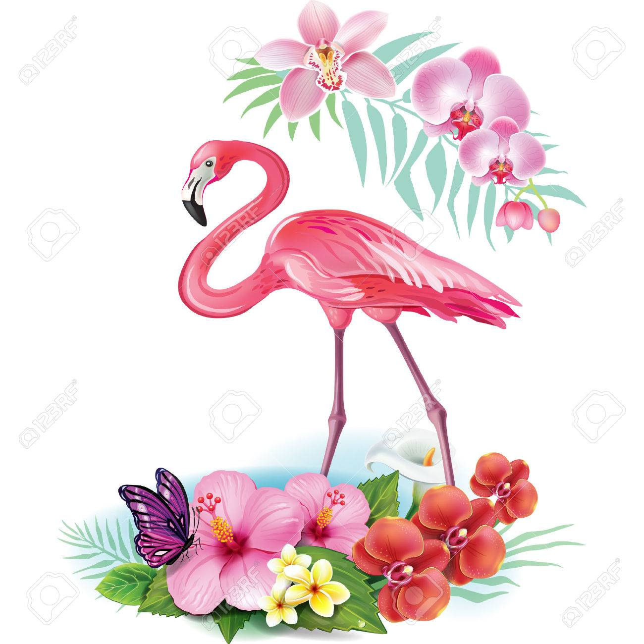 hight resolution of arrangement from tropical flowers and flamingo stock vector 59282180