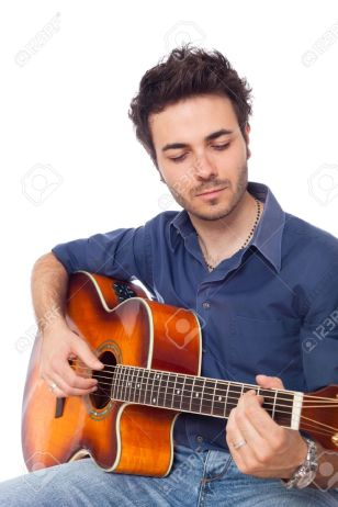 Young Man Playing Guitar Stock Photo, Picture And Royalty Free Image. Image  10996680.