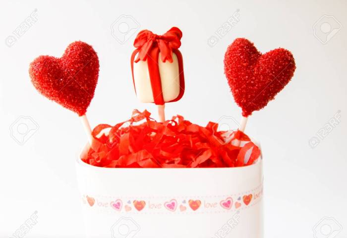 Heart And Gift Box Cake Pops In Cup On White Background Valentine