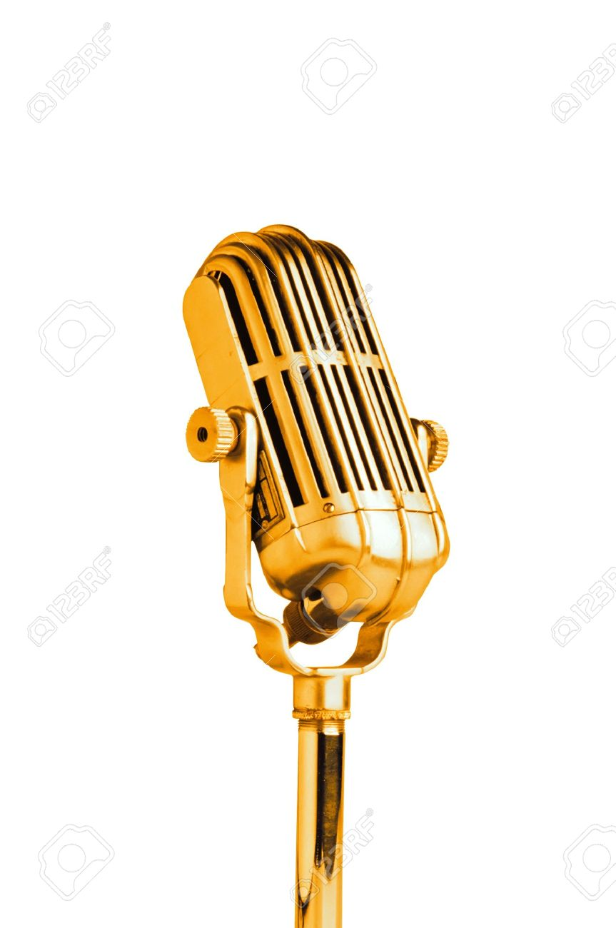 vintage golden microphone isolated