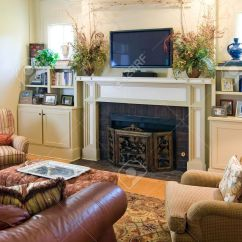 Elegant Living Rooms With Fireplaces Best Room Pictures In India Fireplace And Plasma Tv Stock Photo 2392697