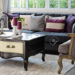 Classic Sofa Comfy Living Beds Luxury Room Design With Armchair And Decorative Set On Wooden Table Stock