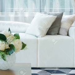 Living Room Flower Vases Wingback Recliners Chairs Furniture Vase At Center Table With White Sofa In Stock Photo 99437454
