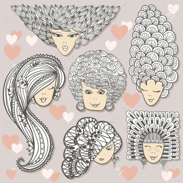 sketches of girls with different hairstyles. curls, waves and..
