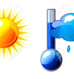 icon of thermometer with sun and cloud isolation over white background stock vector  [ 1300 x 692 Pixel ]