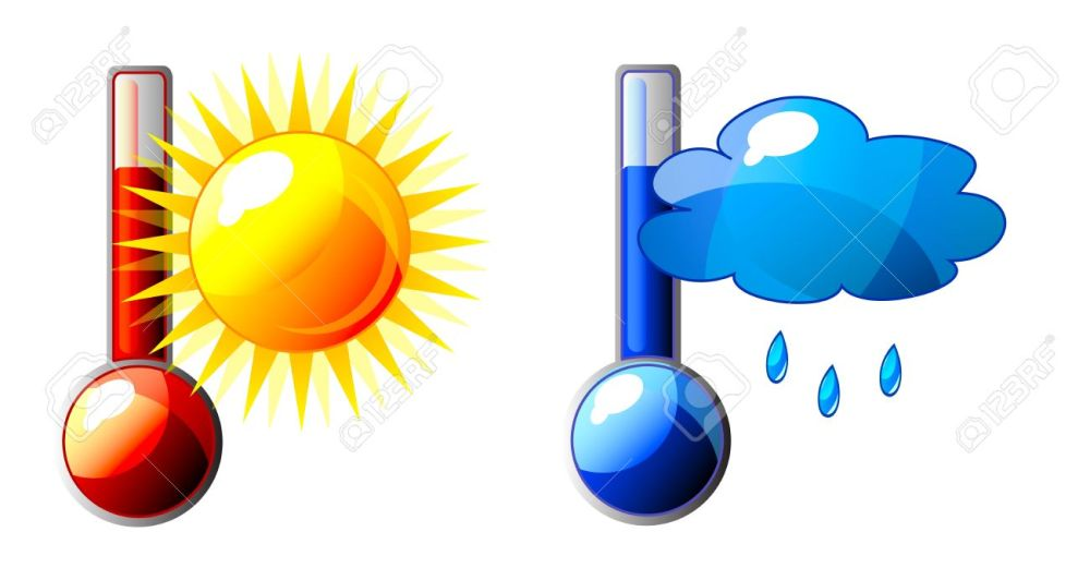 medium resolution of icon of thermometer with sun and cloud isolation over white background stock vector