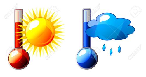 small resolution of icon of thermometer with sun and cloud isolation over white background stock vector