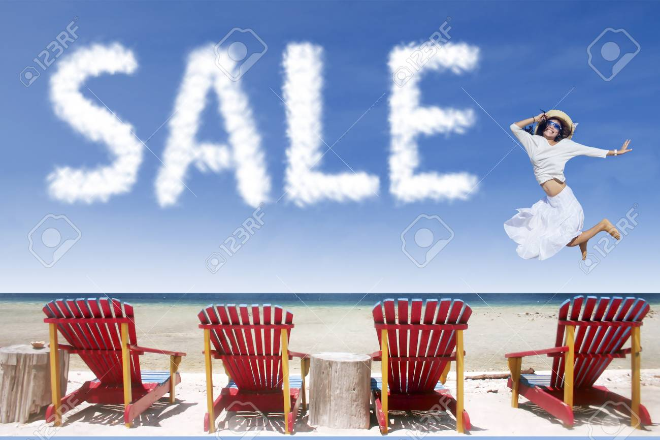 Beach Chairs On Sale Girl With White Dress Jumping Over Beach Chairs Beside Sale Cloud